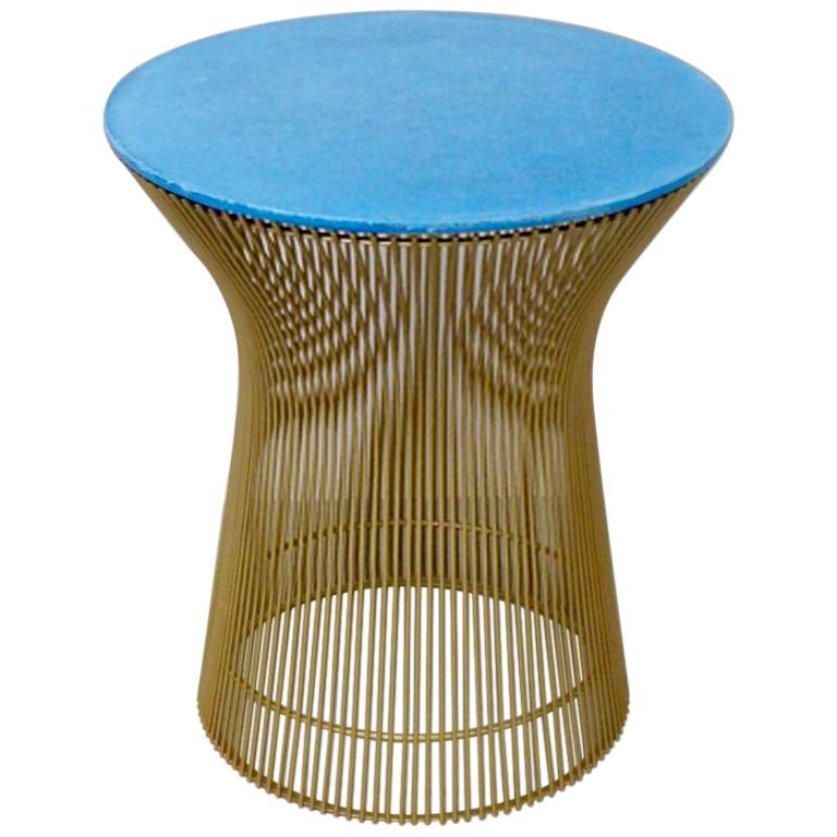 Warren Platner for Knoll Custom Gold Finished Wire Base with blue Cement Top
