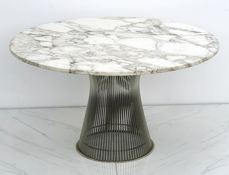 Mid-Century Modern Warren Platner for Knoll Dining Table with Arabescato Marble Top For Sale