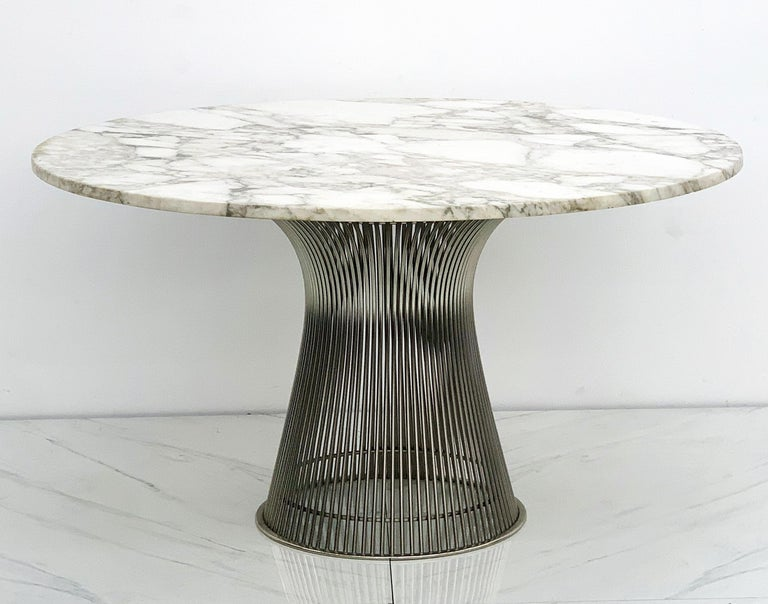 Warren Platner for Knoll Dining Table with Arabescato Marble Top In Good Condition For Sale In Los Angeles, CA
