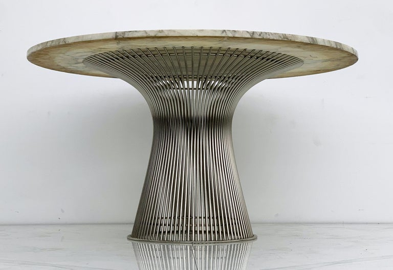 Nickel Warren Platner for Knoll Dining Table with Arabescato Marble Top For Sale
