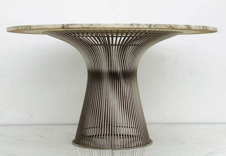 Warren Platner for Knoll Dining Table with Arabescato Marble Top For Sale 1