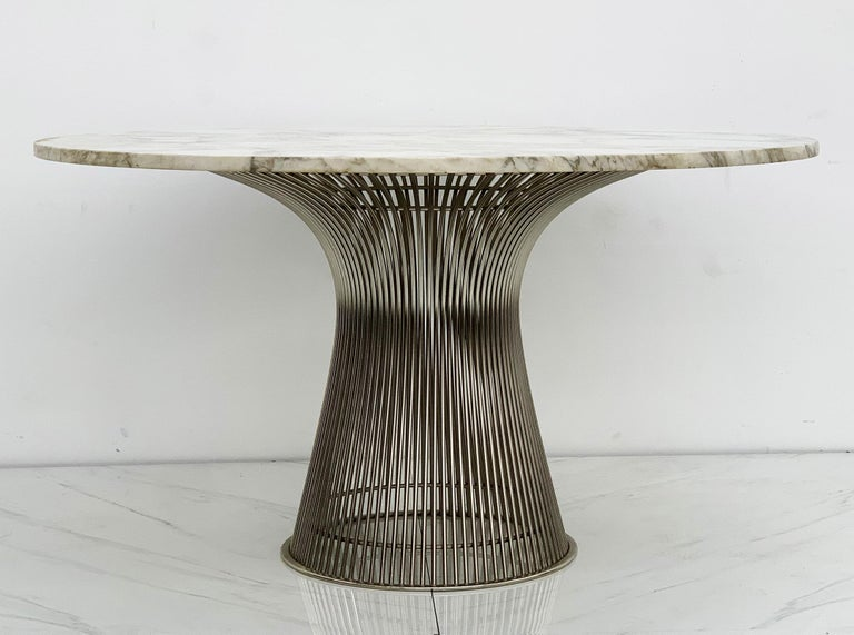 Warren Platner for Knoll Dining Table with Arabescato Marble Top For Sale 2