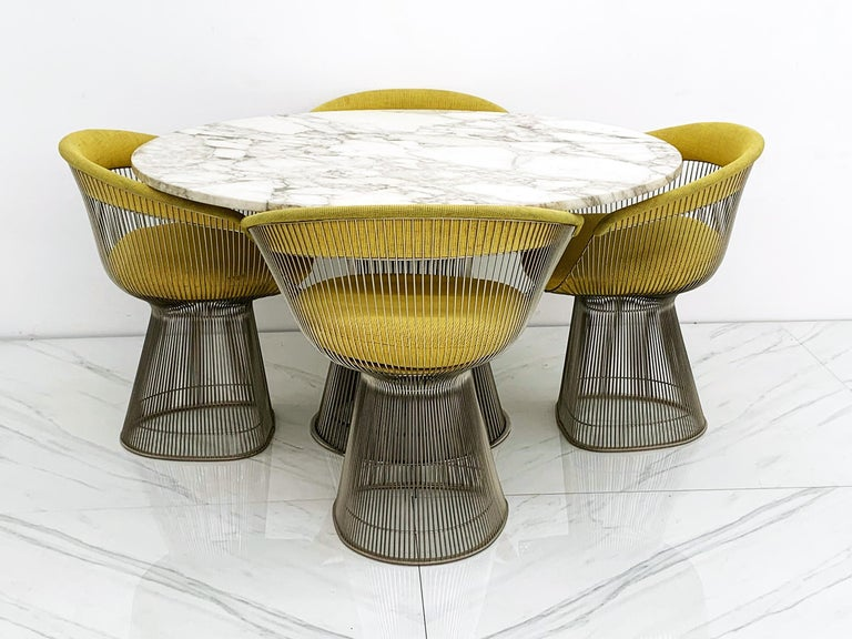Warren Platner for Knoll Dining Table with Arabescato Marble Top For Sale 3