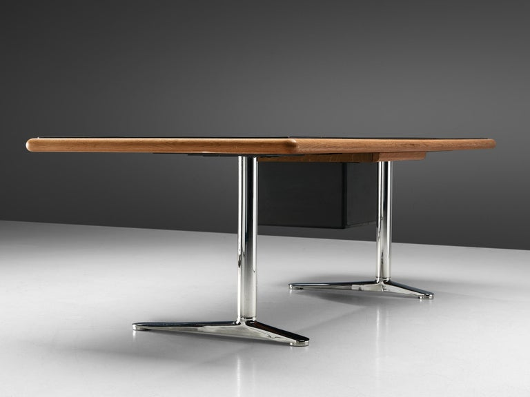 Warren Platner for Knoll Executive Desk in Black Leather For Sale 3