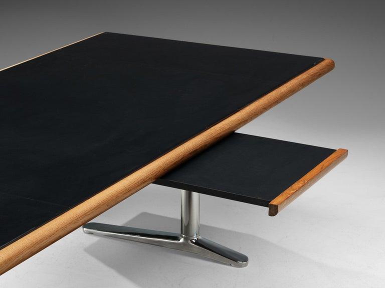 Warren Platner for Knoll Executive Desk in Black Leather For Sale 4