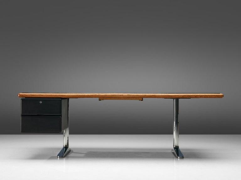 Mid-Century Modern Warren Platner for Knoll Executive Desk in Black Leather For Sale