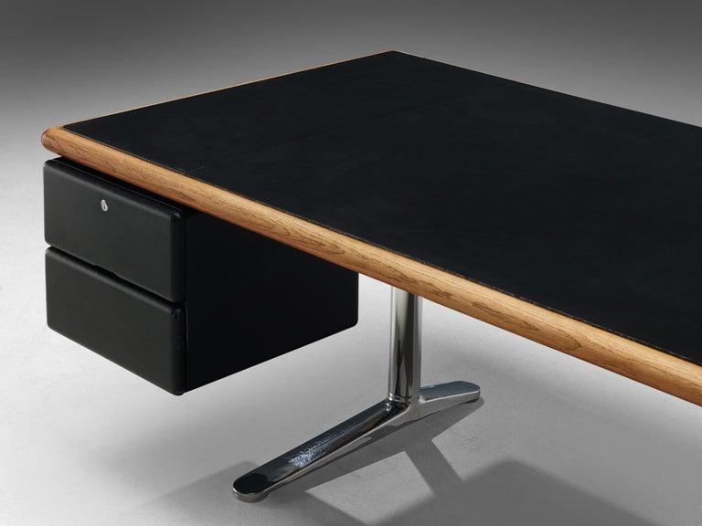 Metal Warren Platner for Knoll Executive Desk in Black Leather For Sale