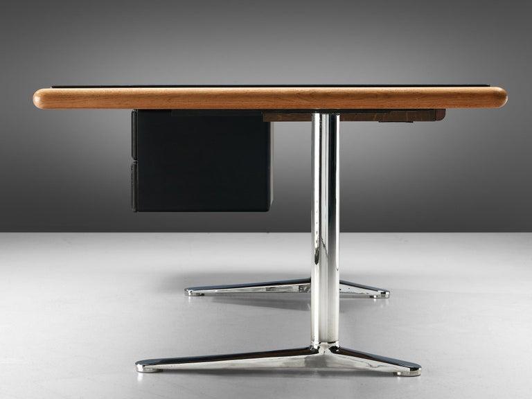 Warren Platner for Knoll Executive Desk in Black Leather For Sale 2