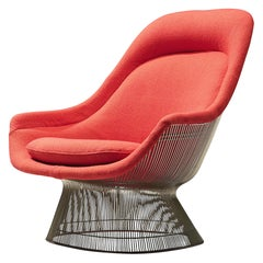 Warren Platner for Knoll Lounge Chair Model '1705' in Red Upholstery