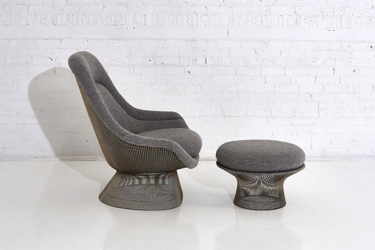 Metal Warren Platner for Knoll Lounge Chair with Ottoman
