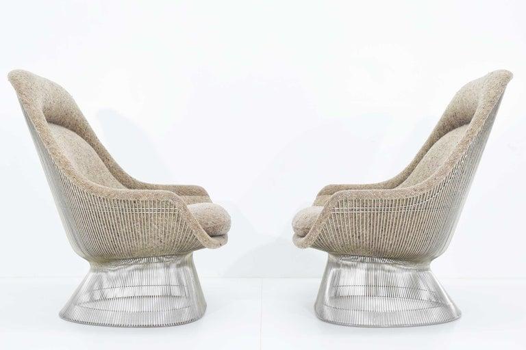 Mid-Century Modern Warren Platner for Knoll Lounge Chairs in Beige Tan Wool Tweed, 1980s