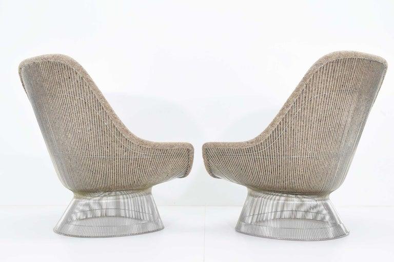 American Warren Platner for Knoll Lounge Chairs in Beige Tan Wool Tweed, 1980s