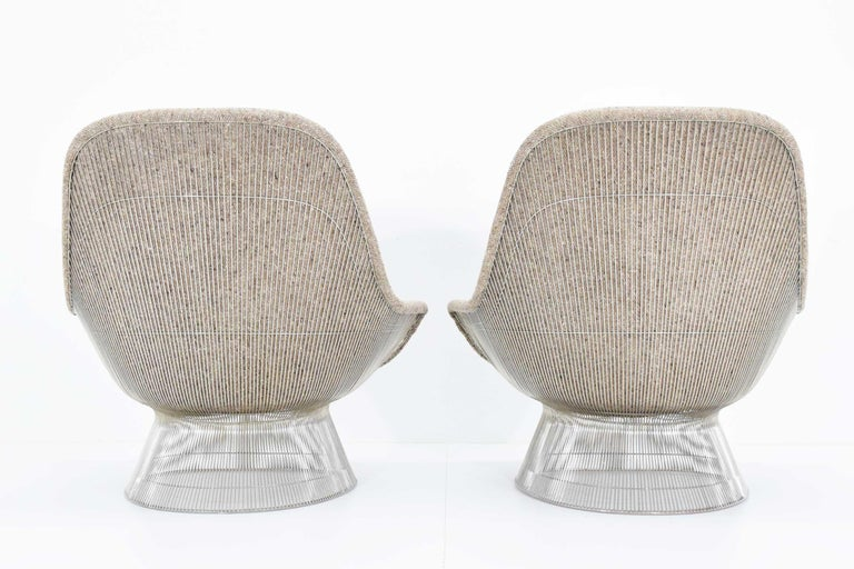 Warren Platner for Knoll Lounge Chairs in Beige Tan Wool Tweed, 1980s In Good Condition In Dallas, TX