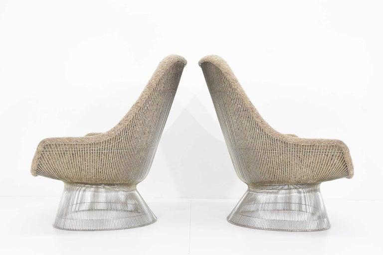 20th Century Warren Platner for Knoll Lounge Chairs in Beige Tan Wool Tweed, 1980s