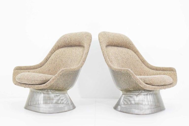 Metal Warren Platner for Knoll Lounge Chairs in Beige Tan Wool Tweed, 1980s