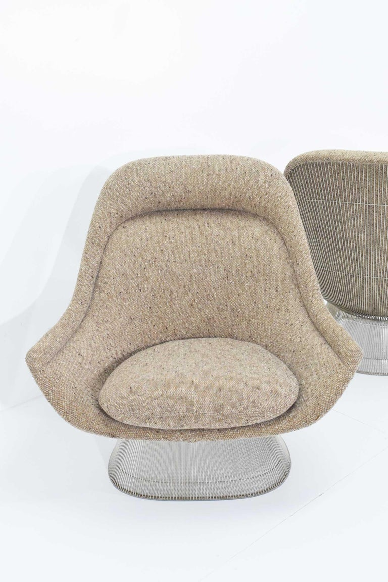 Warren Platner for Knoll Lounge Chairs in Beige Tan Wool Tweed, 1980s 1