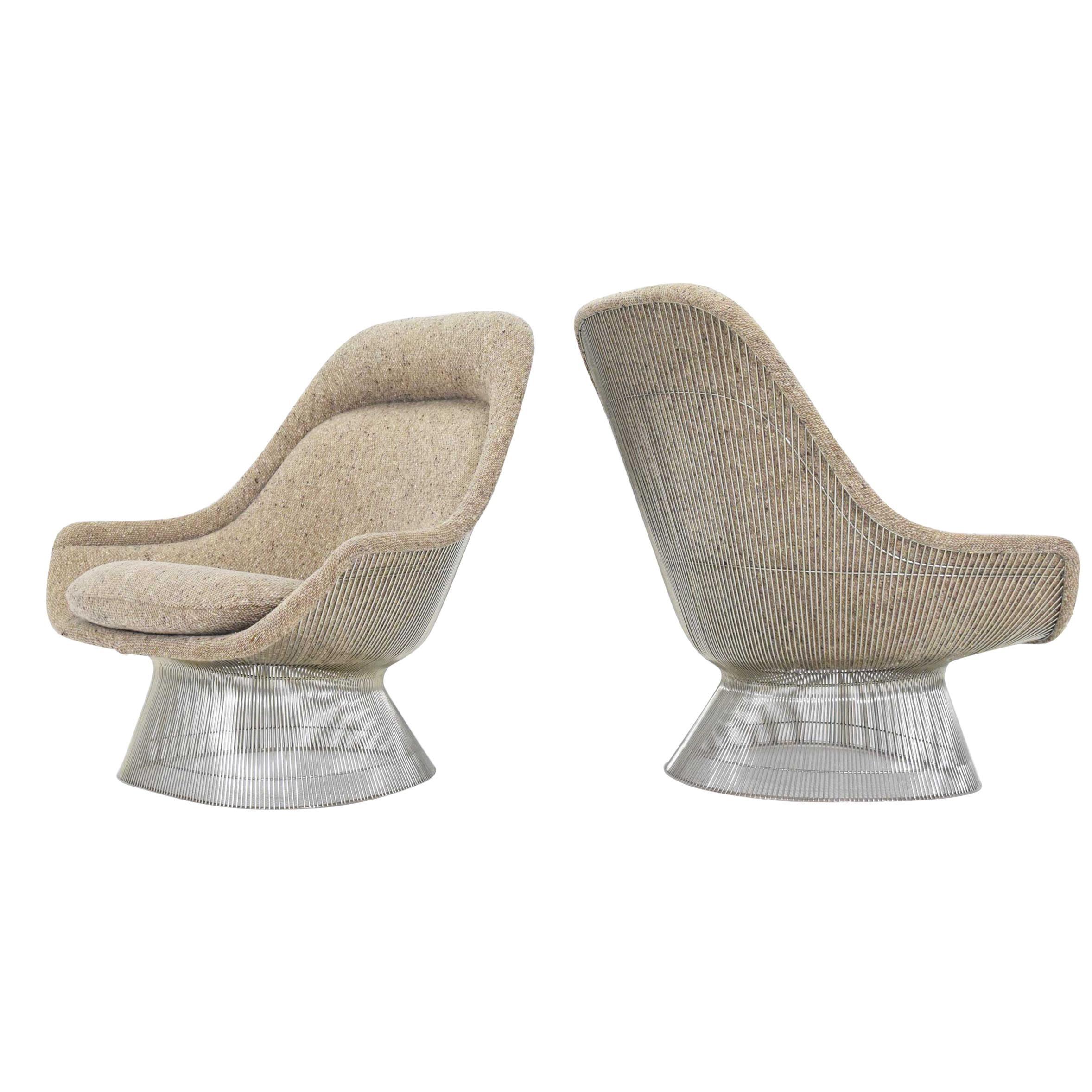 Warren Platner for Knoll Lounge Chairs in Beige Tan Wool Tweed, 1980s