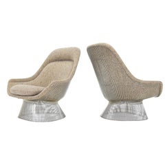 Warren Platner for Knoll Lounge Chairs in Beige Tan Wool Tweed, 1980s