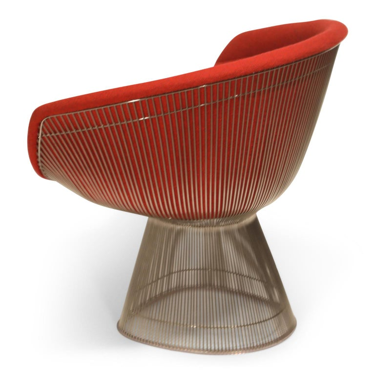 Warren Platner for Knoll Lounge Chairs in Red Wool Boucle For Sale 2