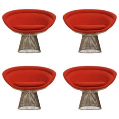 Warren Platner for Knoll Lounge Chairs in Red Wool Boucle
