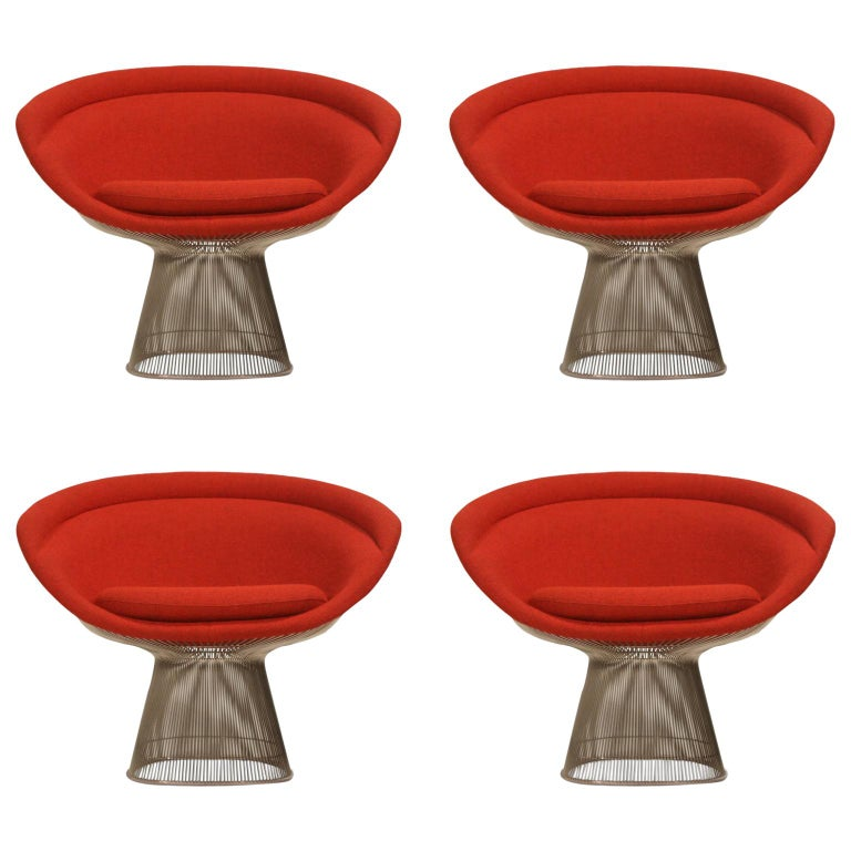 Warren Platner for Knoll Lounge Chairs in Red Wool Boucle For Sale