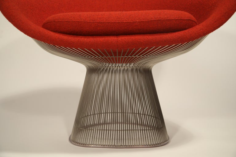 Warren Platner for Knoll Lounge Chairs in Red Wool Boucle, Near Mint Set of Four For Sale 5