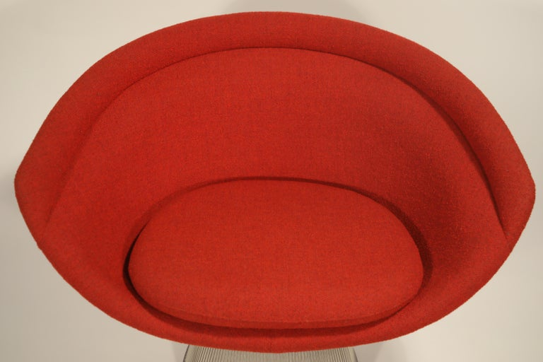 Warren Platner for Knoll Lounge Chairs in Red Wool Boucle, Near Mint Set of Four For Sale 6