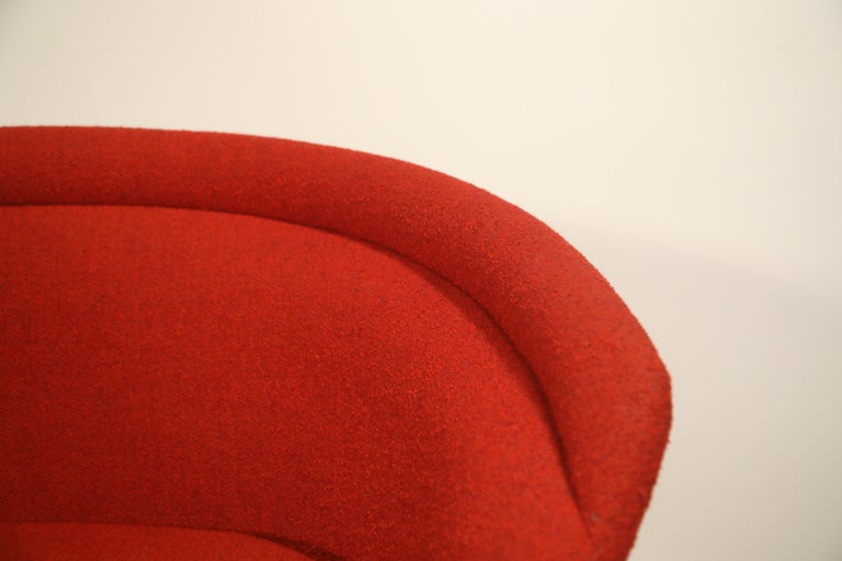Warren Platner for Knoll Lounge Chairs in Red Wool Boucle, Near Mint Set of Four For Sale 9