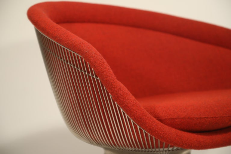 Warren Platner for Knoll Lounge Chairs in Red Wool Boucle, Near Mint Set of Four For Sale 10