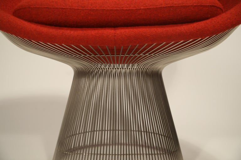 Warren Platner for Knoll Lounge Chairs in Red Wool Boucle, Near Mint Set of Four For Sale 12