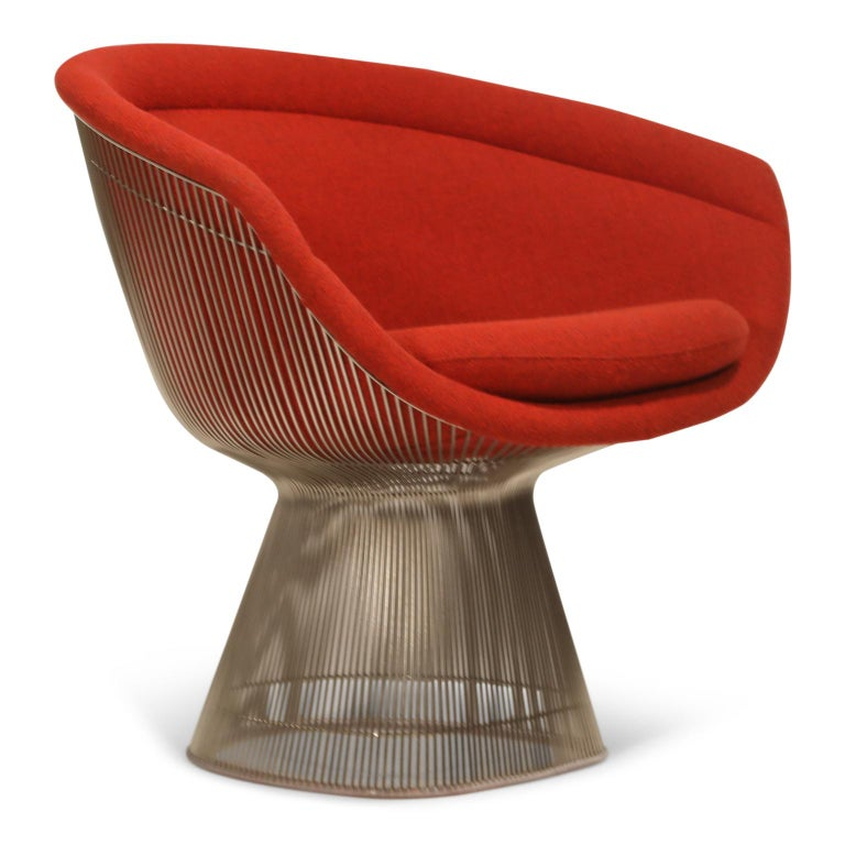 Mid-Century Modern Warren Platner for Knoll Lounge Chairs in Red Wool Boucle, Near Mint Set of Four For Sale