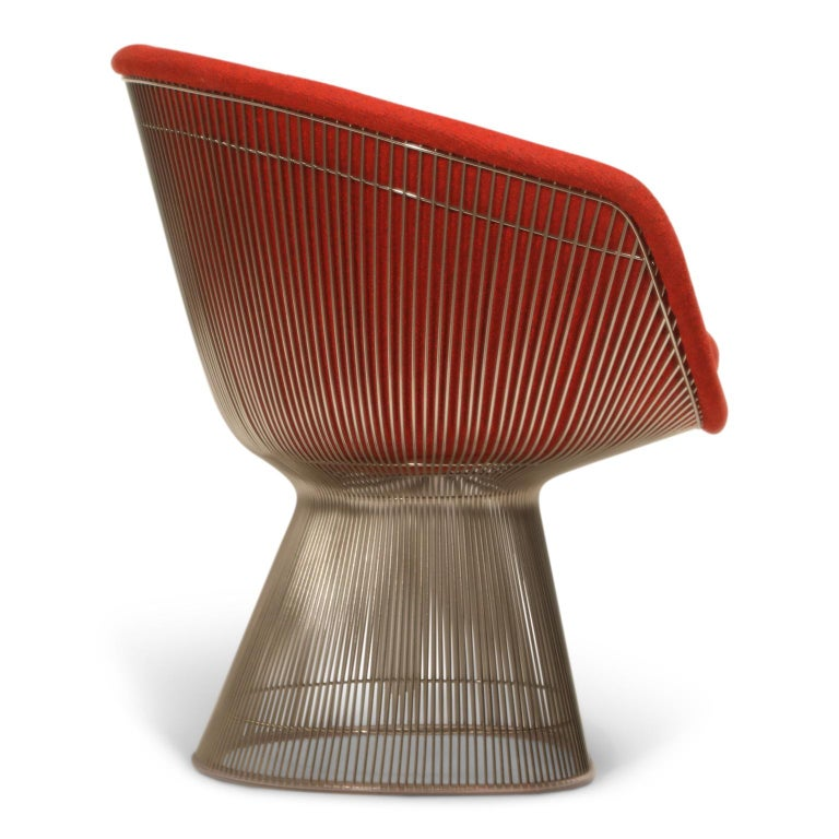 American Warren Platner for Knoll Lounge Chairs in Red Wool Boucle, Near Mint Set of Four For Sale