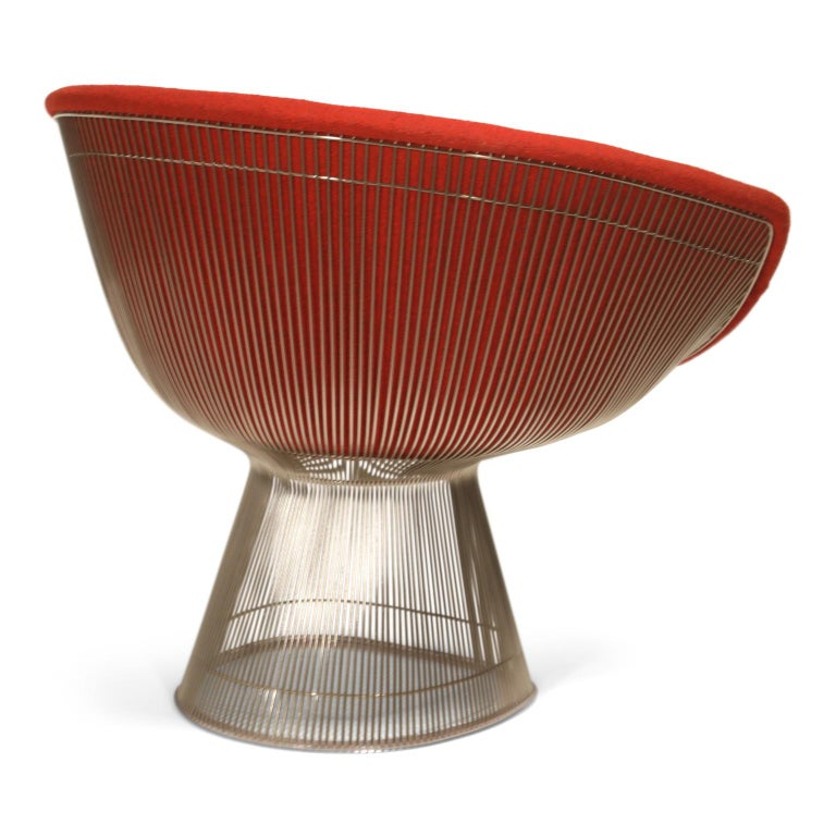 Late 20th Century Warren Platner for Knoll Lounge Chairs in Red Wool Boucle, Near Mint Set of Four For Sale