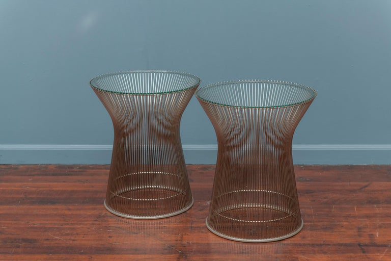 Warren Platner for Knoll chrome and glass side tables in very good original condition.