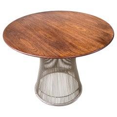 Warren Platner for Knoll Walnut Side Table in Nickel