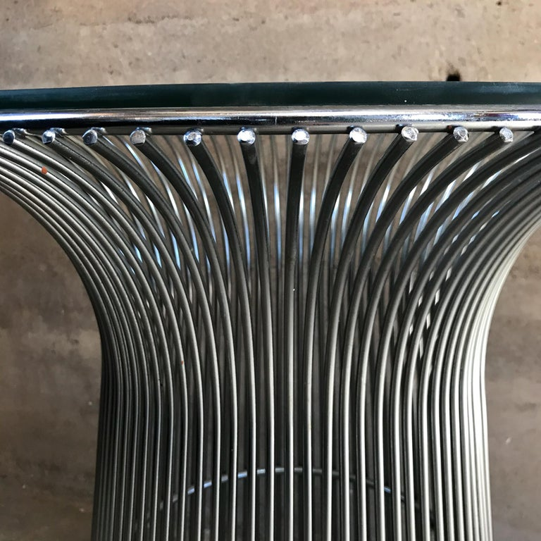 Mid-Century Modern Warren Platner Style Graceful Chrome Side Table for Knoll Organic Modern  For Sale