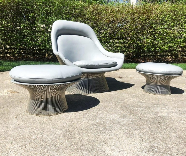 Warrenplatner gray leather easy chair and ottoman set of three, Knoll, 1966. Knoll Models 1705L and 1705Y.  Warren Platner for Knollgray leather model 1705 wire easy lounge chair, 1966. Stunning set of three includes a Platner Easy Chair (Model