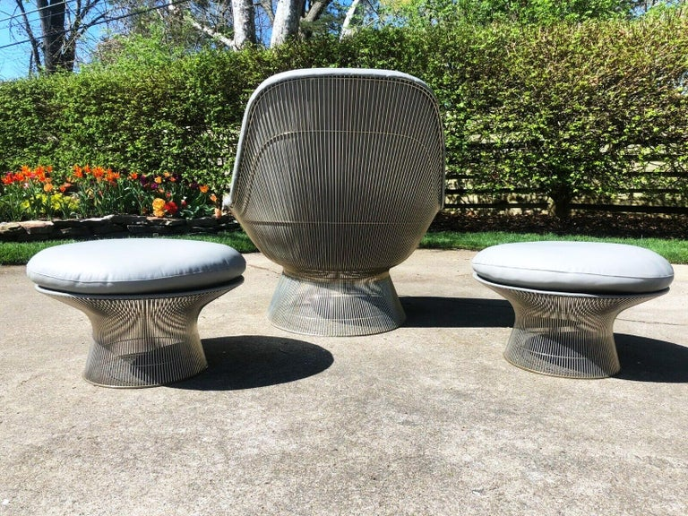 20th Century Warren Platner Gray Leather Easy Chair and Ottoman Set of Three, Knoll, 1966 For Sale
