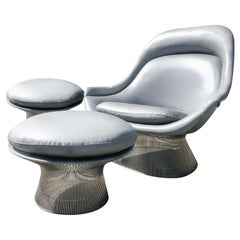 Warren Platner Gray Leather Easy Chair and Ottoman Set of Three, Knoll, 1966
