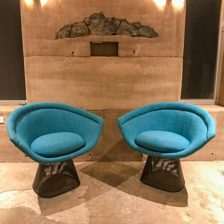 Iconic design by Warren Platner set of lounge chairs (2) for Knoll USA 1960s  No maker stamp is present.  Graceful steel frame with bronze powder coated finish and luscious new teal blue upholstery- exceptional set in a fabulous combination of