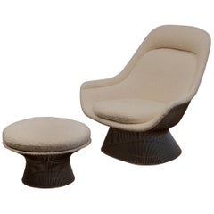 Warren Platner Lounge Chair and Ottoman in Pierre Frey Boucle
