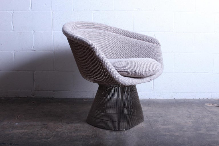 A nickel-plated lounge chair by Warren Platner for Knoll. Older upholstery in Knoll Cato wool that looks to be not original.