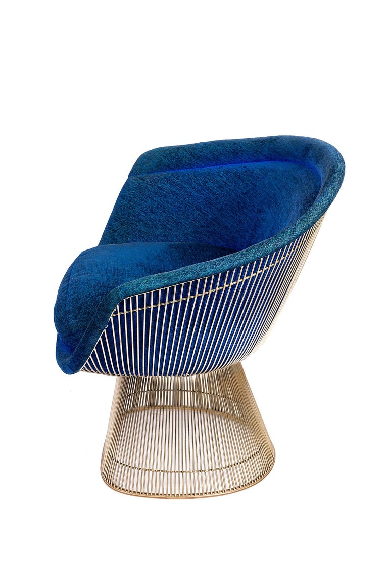 Plated Warren Platner Lounge Chairs for Knoll in Original Fabric, USA, 1960s For Sale