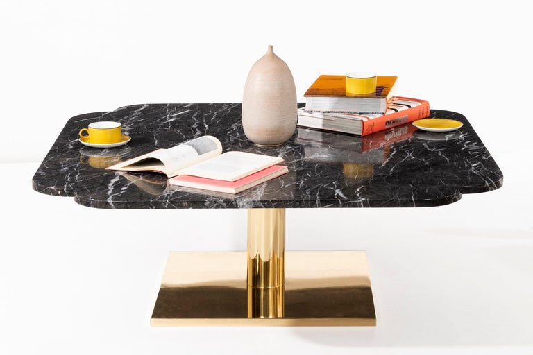 Warren Platner Marble and Brass Coffee Table 9