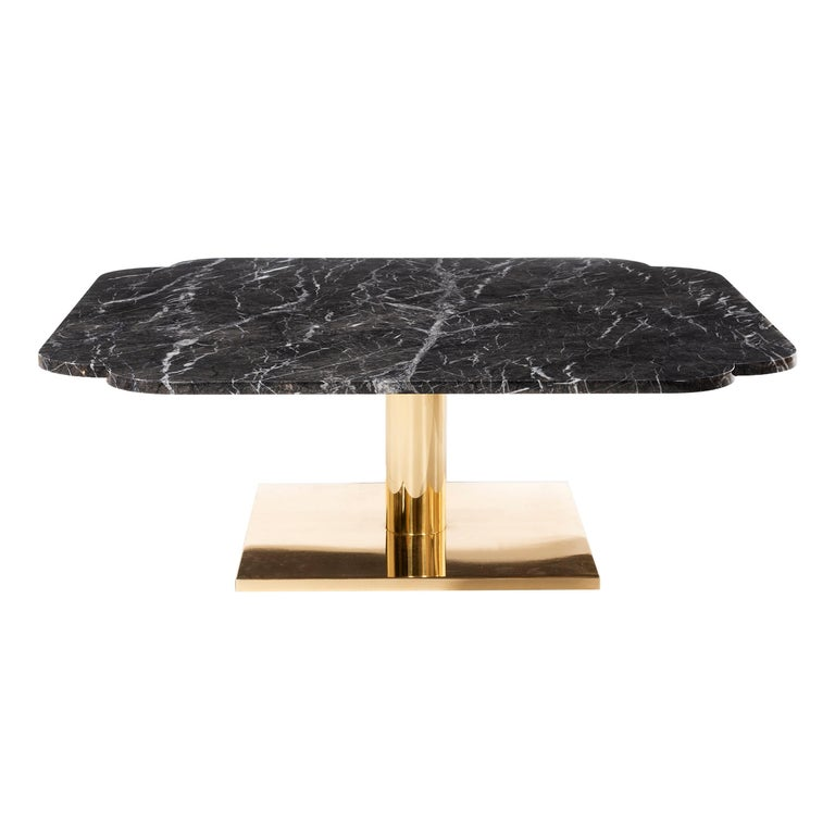 Warren Platner Marble and Brass Coffee Table 1