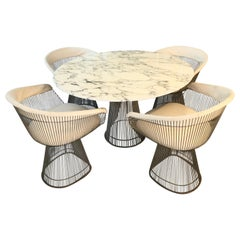 Warren Platner Marble and Chrome Dining Table and Chairs, Ed. Knoll in 1966