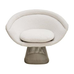 Warren Platner Mid-Century Modern for Knoll White Wool American Dining Chair