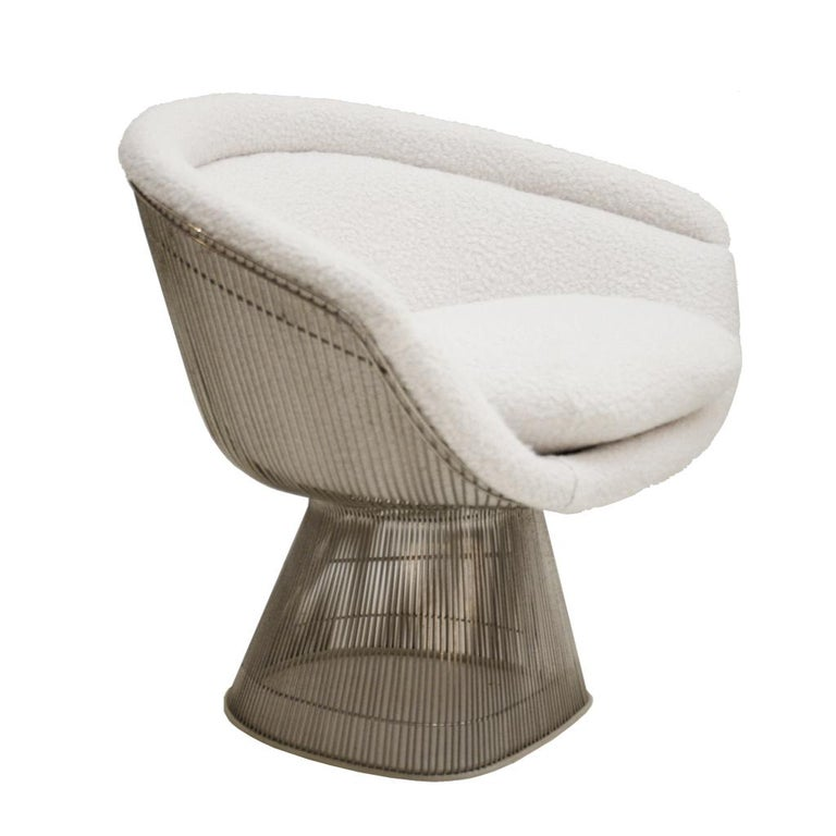 Late 20th Century Warren Platner Mid-Century Modern for Knoll Wool American Dining Chair, Set of 2