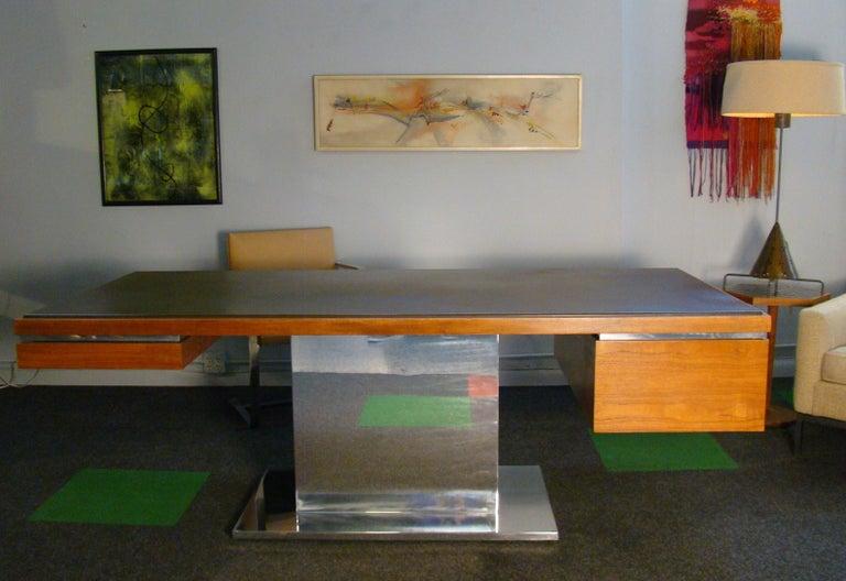 Warren Platner Modernist Executive Desk in Leather, Teak and Steel, 1970s, USA For Sale 3