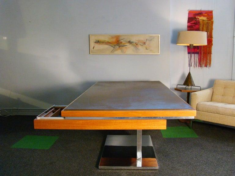 Warren Platner Modernist Executive Desk in Leather, Teak and Steel, 1970s, USA For Sale 4